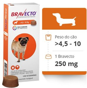 BRAVECTO 4,5 KG A 10 KG ( 250 MG) -  Anti Pulgas e Carrapatos