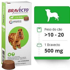 BRAVECTO 10 KG A 20 KG ( 500 MG) -  Anti Pulgas e Carrapatos