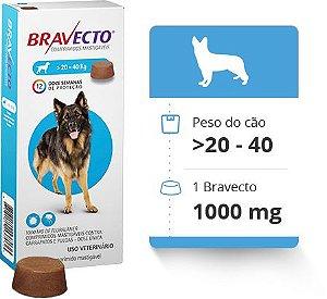 BRAVECTO 20 KG A 40 KG ( 1000 MG) -  Anti Pulgas e Carrapatos