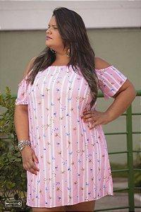 Vestido Ombro Vazado Plus Size
