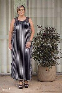 Vestido Longo Com Renda Plus Size