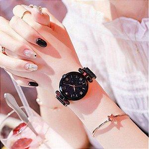 Relógio feminino de luxo céu brilhante com pulseira magnética e resistentes a água.