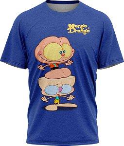 Mongo e Drongo Feliz - Camiseta  - Azul - Tecido Dryfit