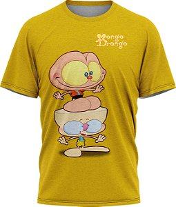 Mongo e Drongo Feliz - Camiseta  - Amarelo - Tecido Dryfit