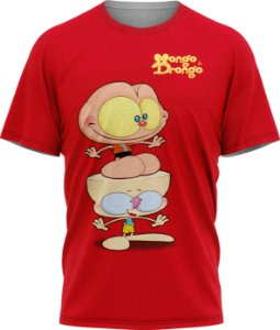 Mongo e Drongo Feliz - Camiseta - Vermelho - Malha Poliéster