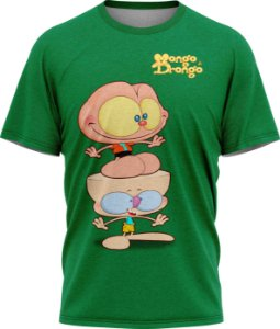 Mongo e Drongo Feliz - Camiseta - Verde - Malha Poliéster