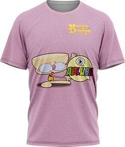 Drongo Abluba Feliz - Camiseta - Lilás- Malha Poliéster