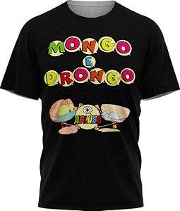 Mongo e Drongo Alfabeto - Camiseta - Preta - Malha Poliéster
