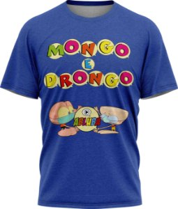 Mongo e Drongo Alfabeto - Camiseta - Azul - Malha Poliéster