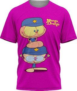 Mongo e Drongo Vigia - Camiseta Infantil - Fucsia - Tecido Dryfit