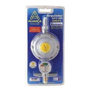 Regulador Gas 2kg Aliança Registro Baixa Pressao - Manômetro