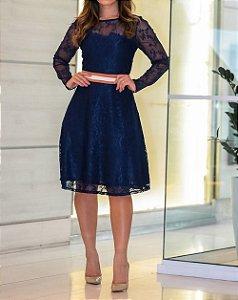 Vestido Renda Godê Azul com Faixa na Cintura