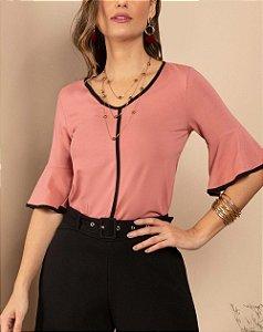 Blusa Rosa com Filete Contrastante