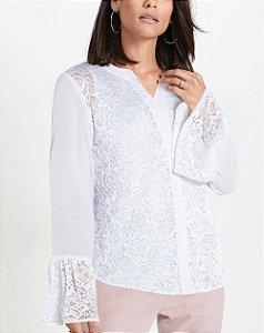 Camisa de Renda com Babado nas Mangas Branca