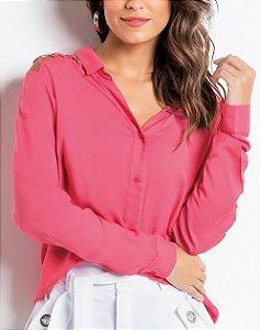 Camisa com Ombros Vazados Pink