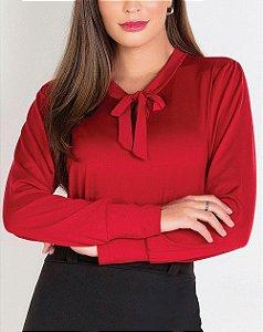 Camisa com Gola Laço Vermelha