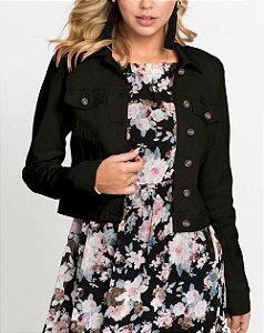 Jaqueta de Sarja Cropped Preta