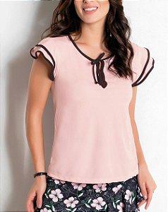 Blusa Rosa com Cor Contrastante