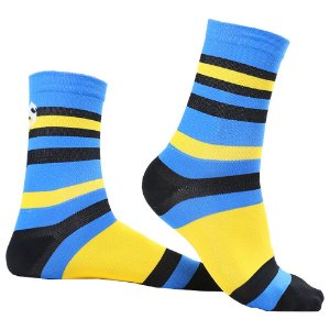 Meias Performance Slotyx Listras Amarelo e Azul