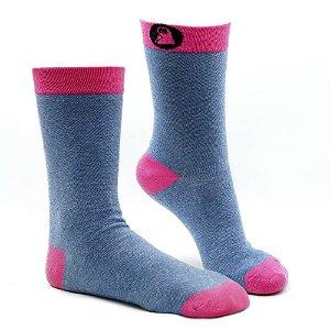 Meia Estampada Divertida Slotyx Jeans com Pink