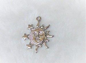Pingente Sol Lua  - Níquel