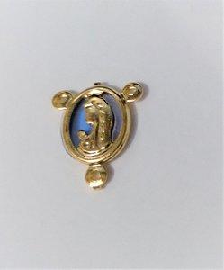 Pingente Metal Dourado Resinado Azul- Nossa Senhora de Fátima