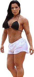 Shorts On The Beach 2 em 1 Feminino com Porta Celular a Prova D'água - Branco