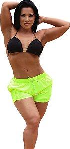 Shorts On The Beach 2 em 1 Feminino com Porta Celular a Prova D'água - Flúor