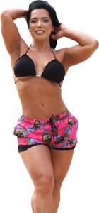 Shorts On The Beach 2 em 1 Feminino com Porta Celular a Prova D'água - Skull