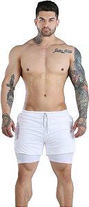 Shorts Fitness 2 Em 1 - Dry Fit E Térmico De Compressão - Esportivo Para Corrida E Treino  - Branco