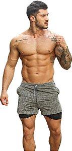Shorts Fitness 2 Em 1 - Dry Fit E Térmico De Compressão - Esportivo Para Corrida E Treino  - Cinza Mescla