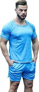 Camisa Jacquard Dry Fit - Azul Turquesa