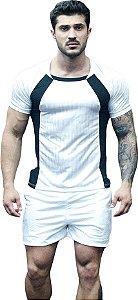 Camisa Jacquard Dry Fit - Branca com Preto