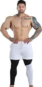 2 em 1 - Short Fitness Dry Fit e Calça Térmica De Compressão - Esportivo Para Corrida E Treino - Branco com Preto