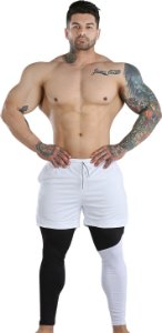 2 em 1 - Short Liner Dry Fit e Calça Térmica De Compressão - Esportivo Para Corrida E Treino - Branco com Preto