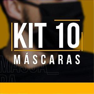 Kit 10 Máscaras Protetoras Dupla Face Reutilizável Lavável Cinza/Preto