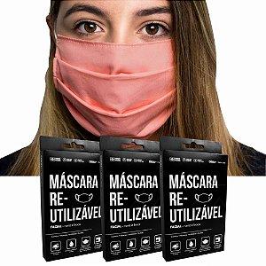 Kit 3 Máscaras Protetoras Dupla Face Reutilizável Lavável Branco/Rosa