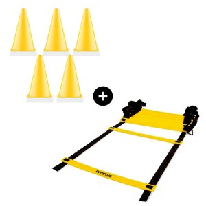 Kit Escada de agilidade + 5 Cones demarcatórios cores