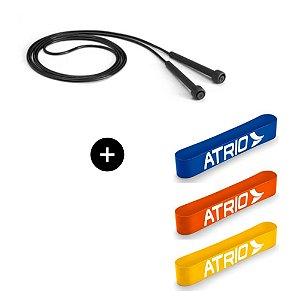 Kit 3 Mini Band Faixas Elásticas + Corda de Pular Running