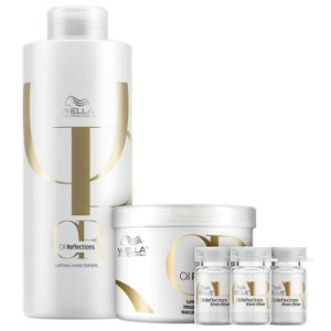 Kit Wella Oil Reflections Shampoo 1L + Máscara 500g + 3 Ampolas 6ml cada