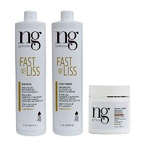 NG De France Kit Pós Fast Liss Shampoo 1l + Condicionador 1l + Máscara 500g