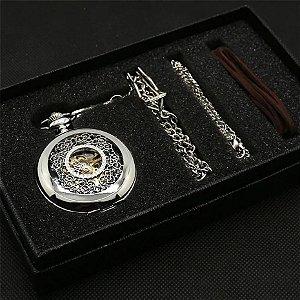 Relógio de Bolso Prata Esqueleto com Caixa