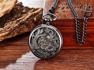 Relógio de Bolso Mecânico Dragão