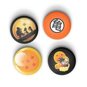 Kit Bottons Dragon Ball com 4 unidades