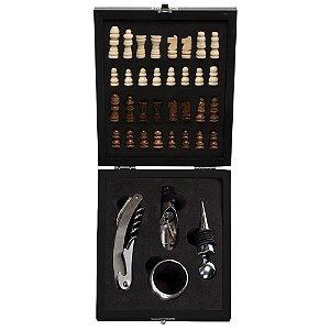 Kit vinho com jogo de xadrez 4 peças personalizado - Cód.: 12046XQ