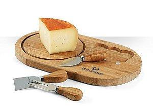 Tábua de queijo em bambu com 4 peças personalizadas - Cód.: 93976SQ