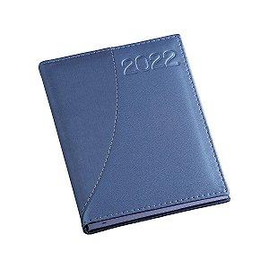 Agenda diária com capa metalizada azul e detalhe meia lua - Cód.: 161LQ