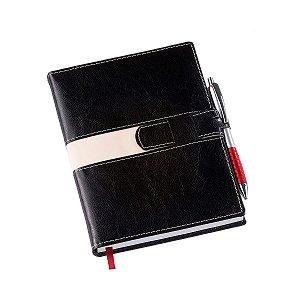 Agenda diária com capa e fecho em couro sintético - Cód.: 198LQ