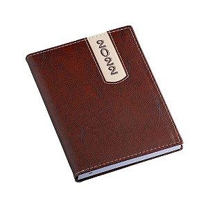 Agenda diária com capa em couro sintético marrom - Cód.: 208LQ