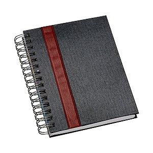 Agenda diária espiral com capa metalizada e detalhe colorido - Cód.: 416LQ